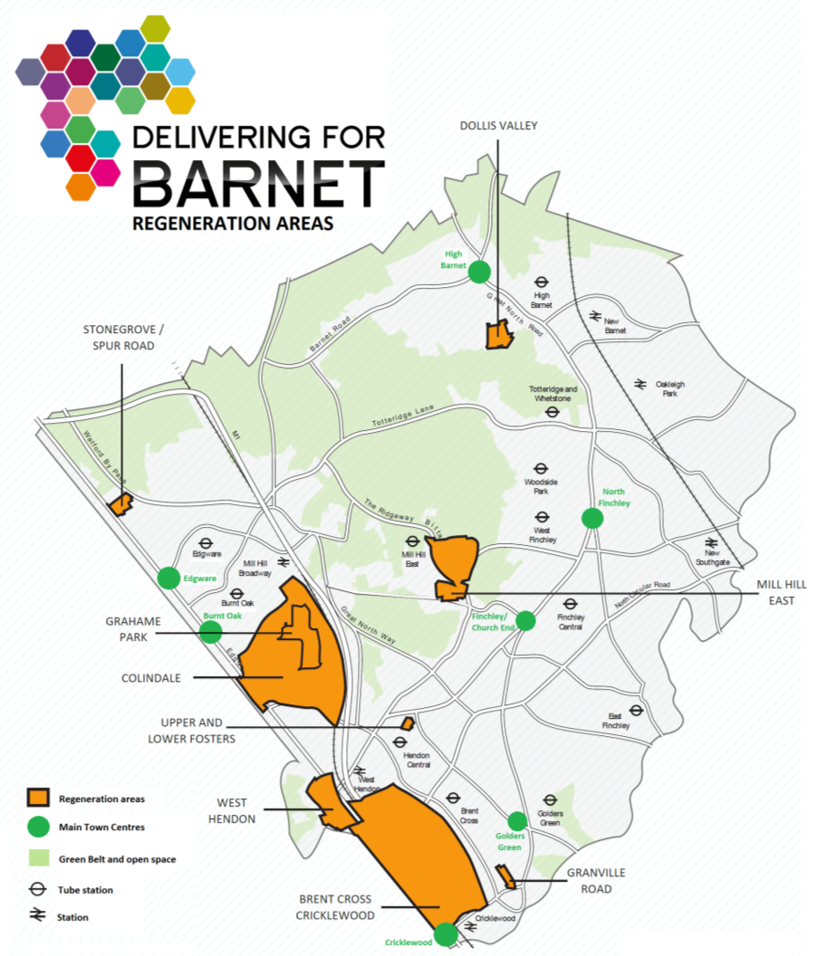Figure 1.4 Regeneration map showing areas of planned development in the borough