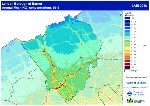 Figure 2.15: Modelled annual mean concentrations of NO2 in Barnet, 2016