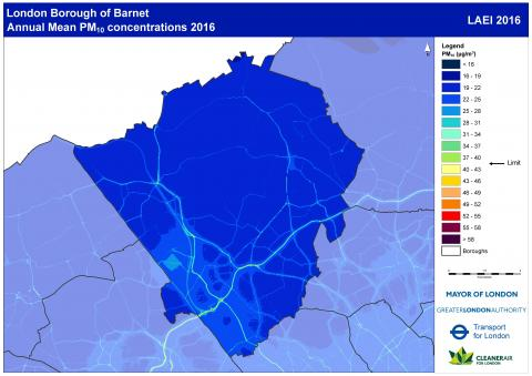 Figure 2.16: Annual mean concentrations of PM10 in Barnet, 2016