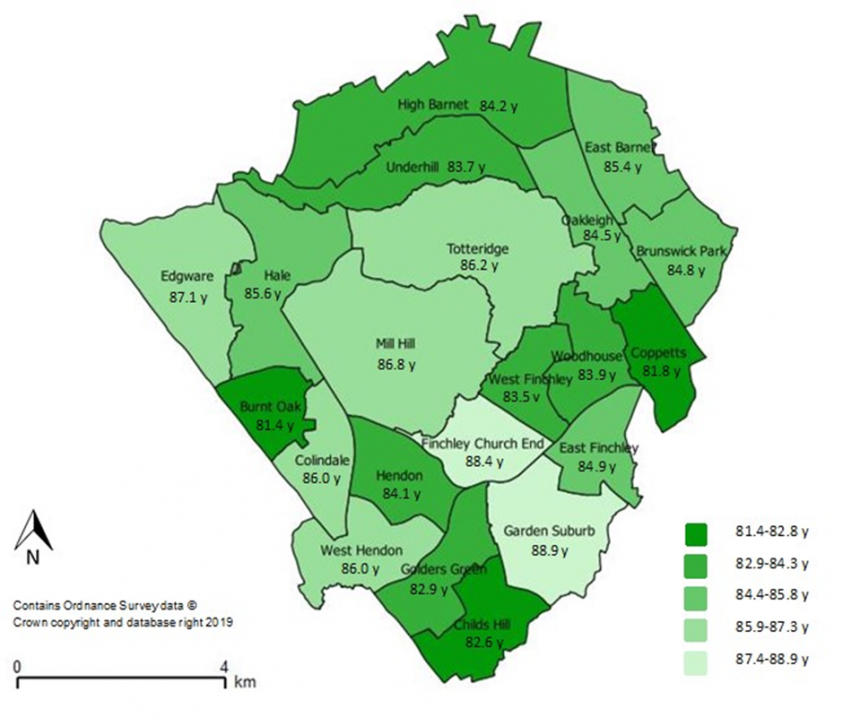 Life expectancy in females by ward